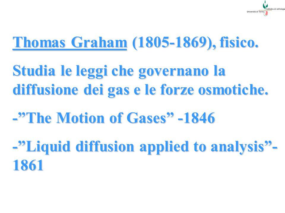 Thomas Graham (1805-1869), fisico. Studia le leggi che governano la diffusione dei gas e le forze osmotiche. -The Motion of Gases -1846 -Liquid diffus