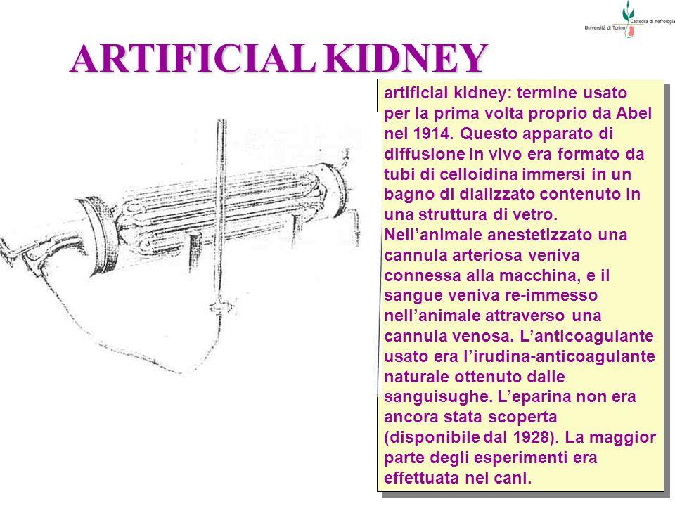 ARTIFICIAL KIDNEY artificial kidney: termine usato per la prima volta proprio da Abel nel 1914. Questo apparato di diffusione in vivo era formato da t