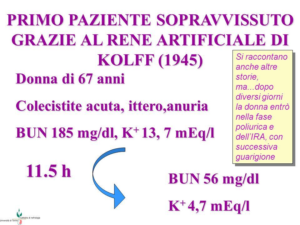 PRIMO PAZIENTE SOPRAVVISSUTO GRAZIE AL RENE ARTIFICIALE DI KOLFF (1945) Donna di 67 anni Colecistite acuta, ittero,anuria BUN 185 mg/dl, K + 13, 7 mEq