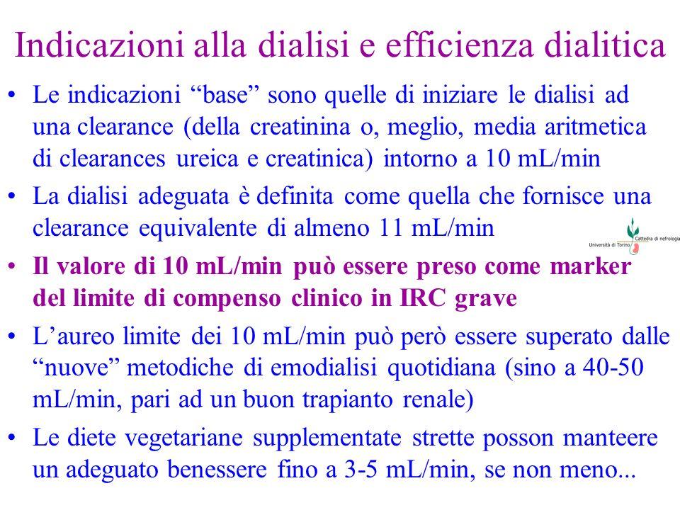 Indicazioni alla dialisi e efficienza dialitica Le indicazioni base sono quelle di iniziare le dialisi ad una clearance (della creatinina o, meglio, m
