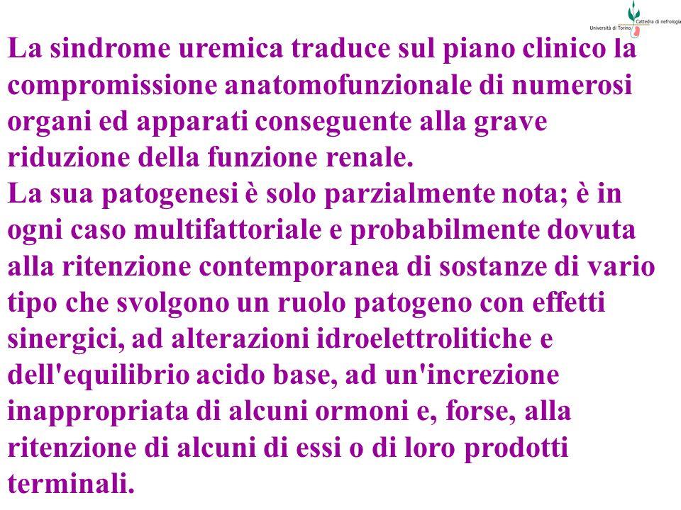 La sindrome uremica traduce sul piano clinico la compromissione anatomofunzionale di numerosi organi ed apparati conseguente alla grave riduzione dell