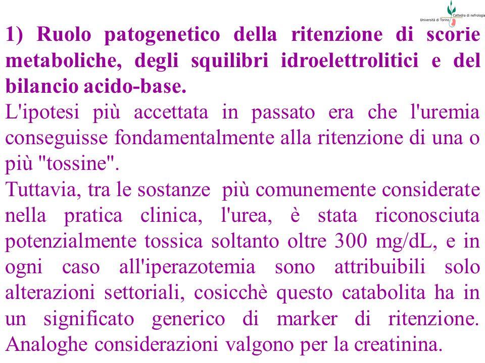 1) Ruolo patogenetico della ritenzione di scorie metaboliche, degli squilibri idroelettrolitici e del bilancio acido-base. L'ipotesi più accettata in