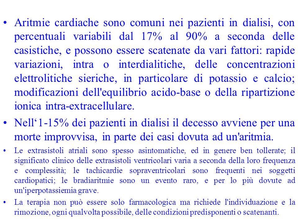 Aritmie cardiache sono comuni nei pazienti in dialisi, con percentuali variabili dal 17% al 90% a seconda delle casistiche, e possono essere scatenate
