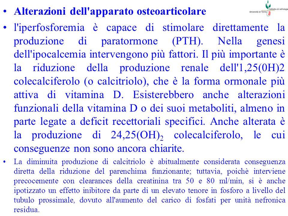 Alterazioni dell'apparato osteoarticolare l'iperfosforemia è capace di stimolare direttamente la produzione di paratormone (PTH). Nella genesi dell'ip