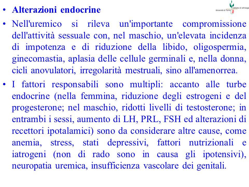 Alterazioni endocrine Nell'uremico si rileva un'importante compromissione dell'attività sessuale con, nel maschio, un'elevata incidenza di impotenza e