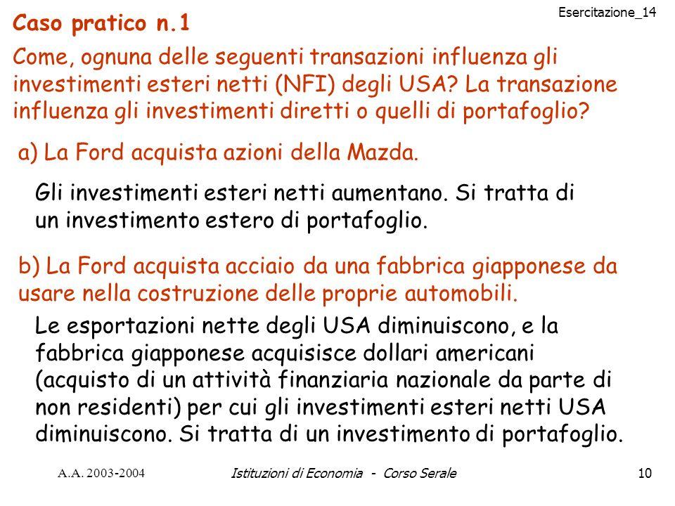 Esercitazione_14 A.A. 2003-2004Istituzioni di Economia - Corso Serale10 Caso pratico n.1 Come, ognuna delle seguenti transazioni influenza gli investi