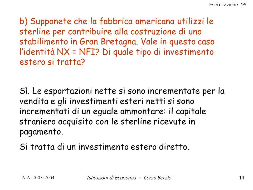 Esercitazione_14 A.A. 2003-2004Istituzioni di Economia - Corso Serale14 b) Supponete che la fabbrica americana utilizzi le sterline per contribuire al