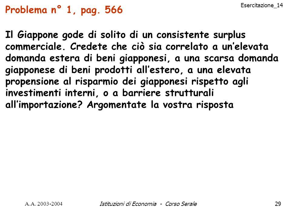 Esercitazione_14 A.A. 2003-2004Istituzioni di Economia - Corso Serale29 Problema n° 1, pag. 566 Il Giappone gode di solito di un consistente surplus c