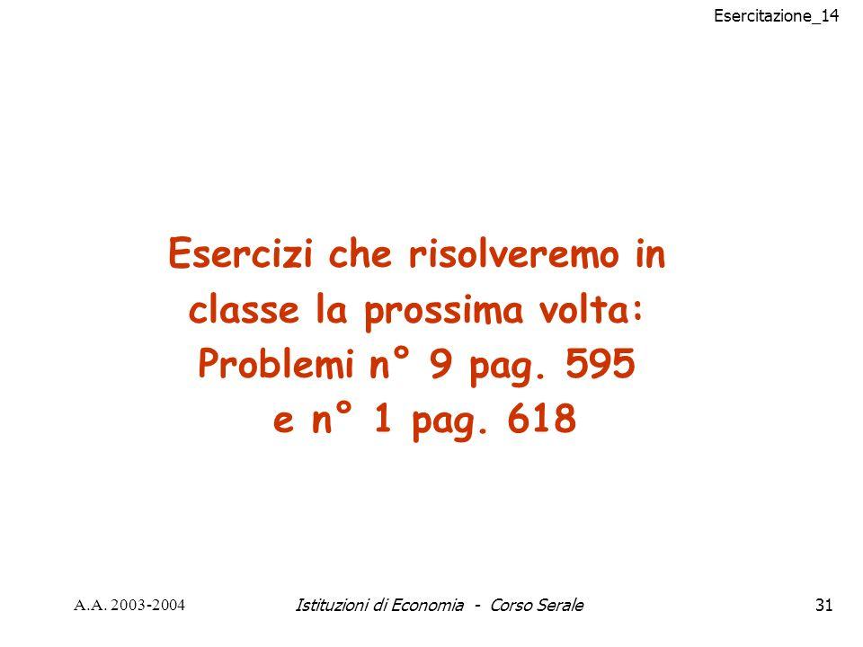 Esercitazione_14 A.A. 2003-2004Istituzioni di Economia - Corso Serale31 Esercizi che risolveremo in classe la prossima volta: Problemi n° 9 pag. 595 e