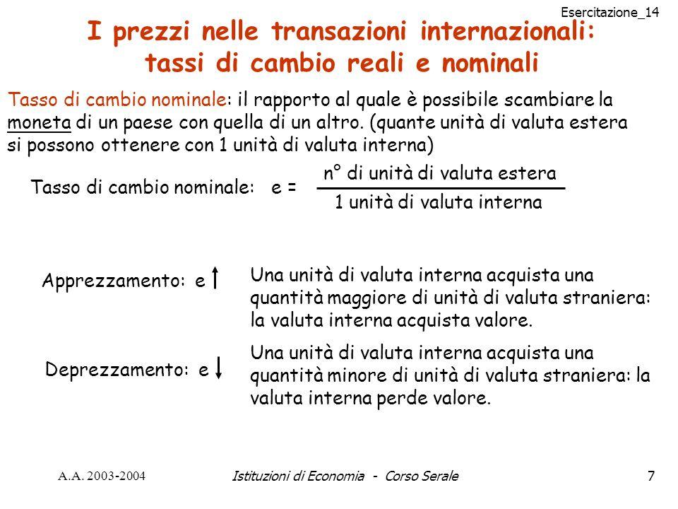 Esercitazione_14 A.A. 2003-2004Istituzioni di Economia - Corso Serale7 I prezzi nelle transazioni internazionali: tassi di cambio reali e nominali Tas