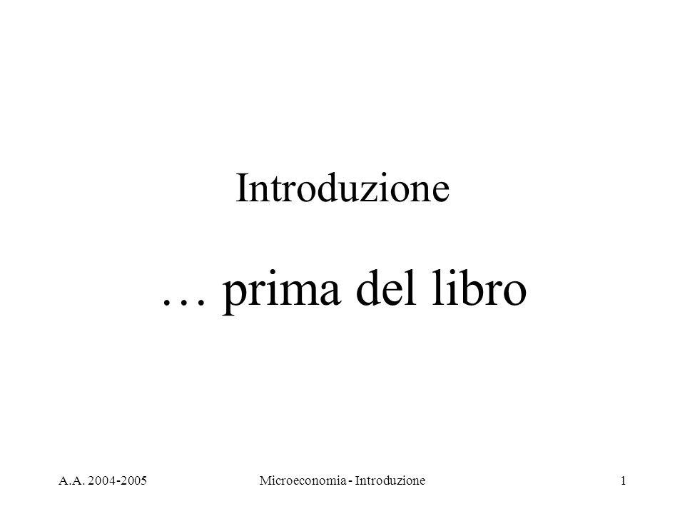 A.A. 2004-2005Microeconomia - Introduzione1 Introduzione … prima del libro
