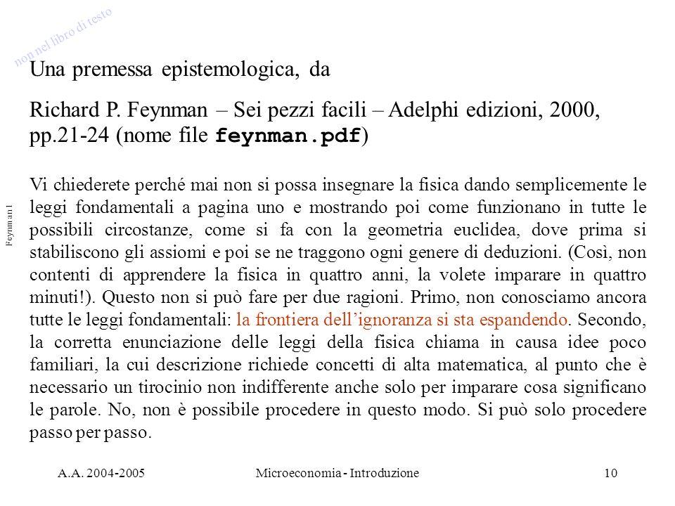 A.A. 2004-2005Microeconomia - Introduzione10 Una premessa epistemologica, da Richard P. Feynman – Sei pezzi facili – Adelphi edizioni, 2000, pp.21-24