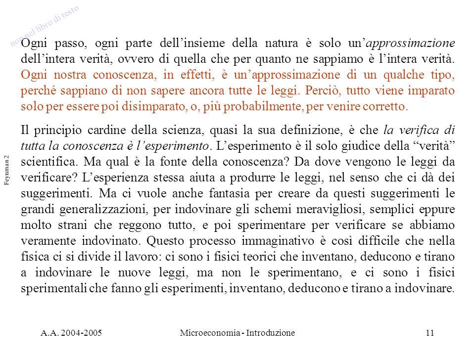 A.A. 2004-2005Microeconomia - Introduzione11 Ogni passo, ogni parte dellinsieme della natura è solo unapprossimazione dellintera verità, ovvero di que