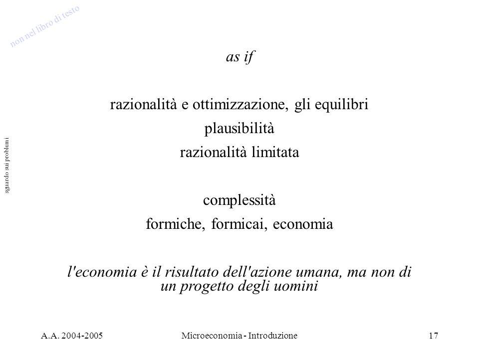A.A. 2004-2005Microeconomia - Introduzione17 as if razionalità e ottimizzazione, gli equilibri plausibilità razionalità limitata complessità formiche,