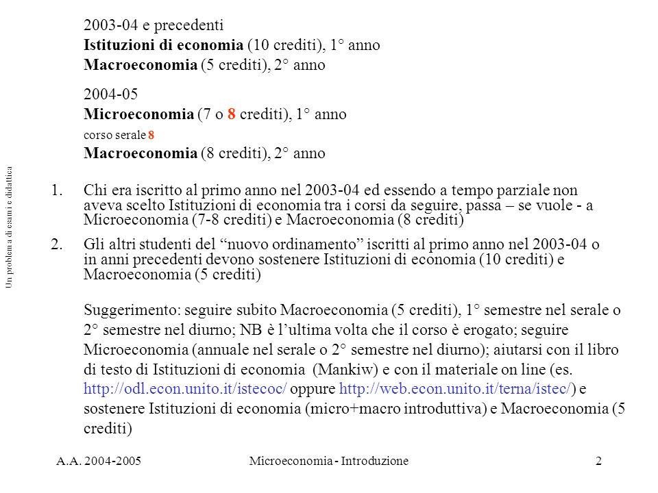 A.A. 2004-2005Microeconomia - Introduzione2 1.Chi era iscritto al primo anno nel 2003-04 ed essendo a tempo parziale non aveva scelto Istituzioni di e