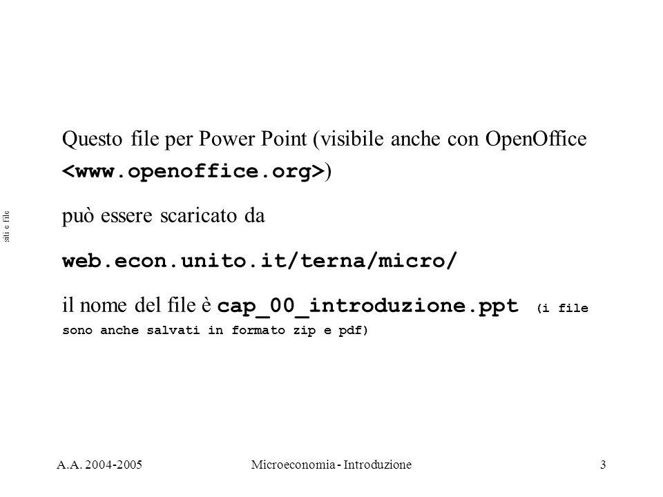 A.A. 2004-2005Microeconomia - Introduzione3 Questo file per Power Point (visibile anche con OpenOffice ) può essere scaricato da web.econ.unito.it/ter