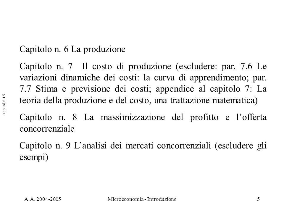 A.A. 2004-2005Microeconomia - Introduzione5 Capitolo n. 6 La produzione Capitolo n. 7 Il costo di produzione (escludere: par. 7.6 Le variazioni dinami