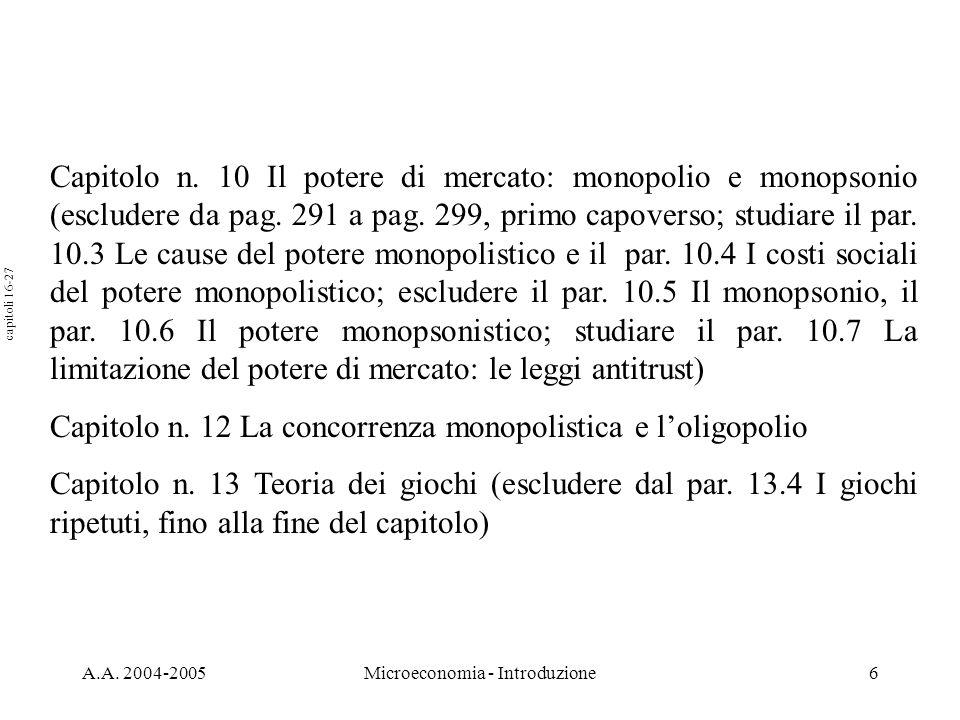 A.A. 2004-2005Microeconomia - Introduzione6 Capitolo n. 10 Il potere di mercato: monopolio e monopsonio (escludere da pag. 291 a pag. 299, primo capov