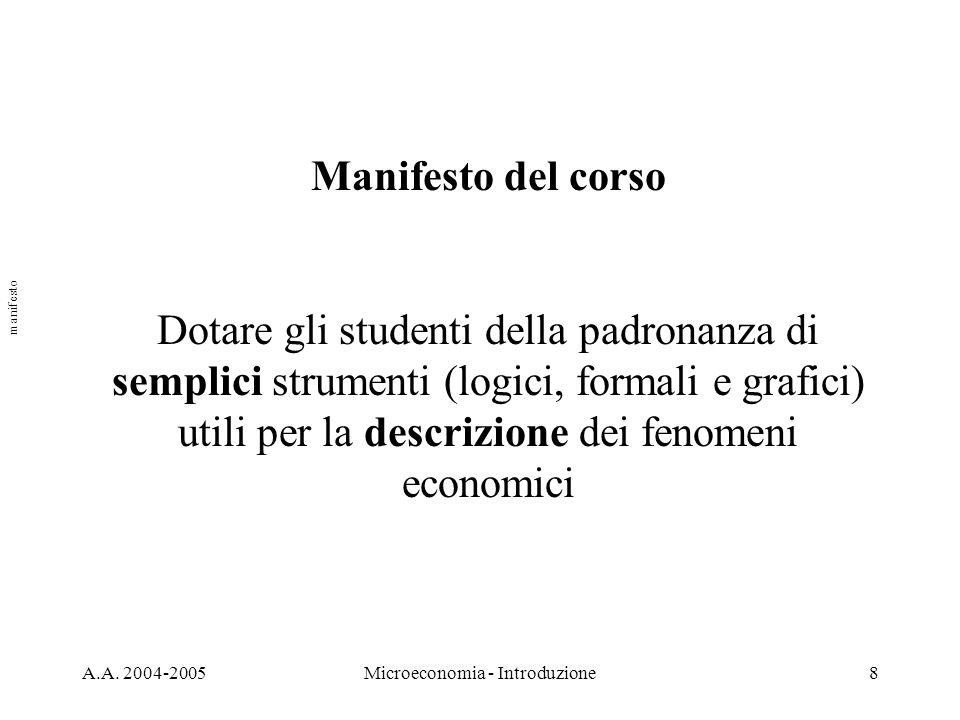 A.A. 2004-2005Microeconomia - Introduzione8 Manifesto del corso Dotare gli studenti della padronanza di semplici strumenti (logici, formali e grafici)