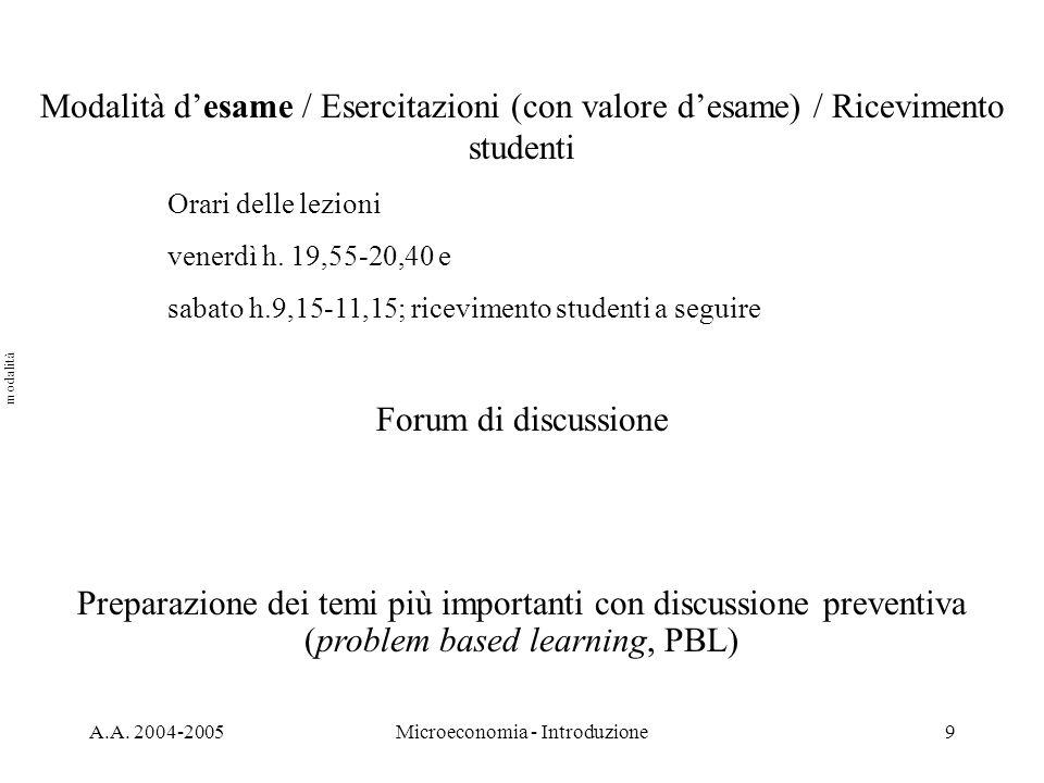 A.A. 2004-2005Microeconomia - Introduzione9 Modalità desame / Esercitazioni (con valore desame) / Ricevimento studenti Orari delle lezioni venerdì h.