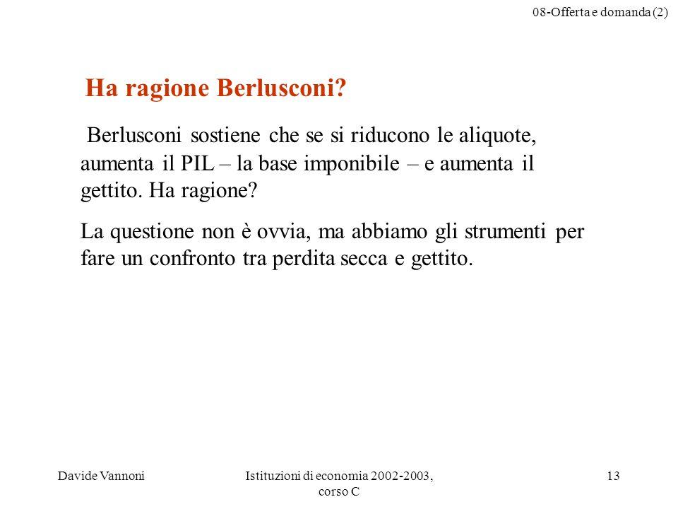 08-Offerta e domanda (2) Davide VannoniIstituzioni di economia 2002-2003, corso C 13 Berlusconi sostiene che se si riducono le aliquote, aumenta il PIL – la base imponibile – e aumenta il gettito.