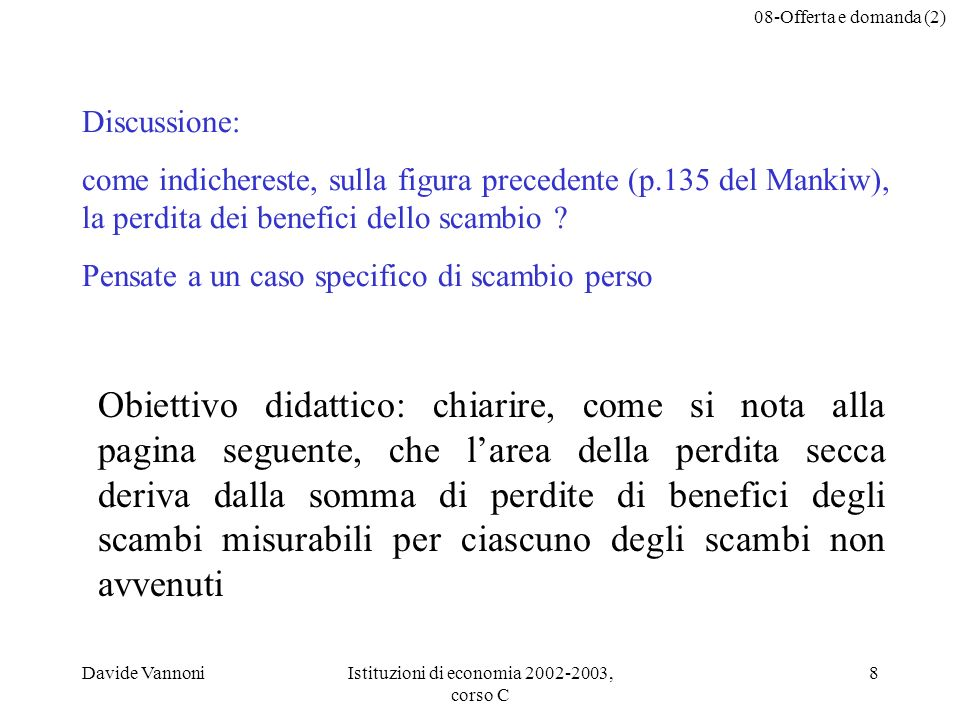 08-Offerta e domanda (2) Davide VannoniIstituzioni di economia 2002-2003, corso C 8 Discussione: come indichereste, sulla figura precedente (p.135 del Mankiw), la perdita dei benefici dello scambio .