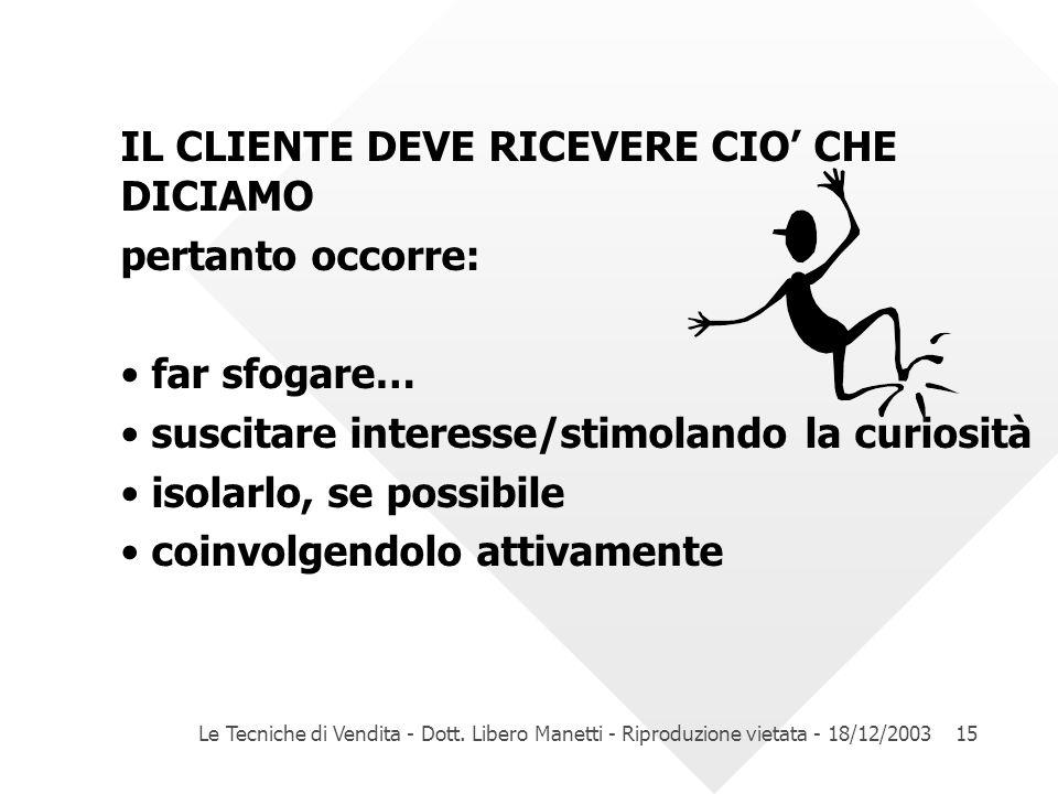 Le Tecniche di Vendita - Dott. Libero Manetti - Riproduzione vietata - 18/12/200315 IL CLIENTE DEVE RICEVERE CIO CHE DICIAMO pertanto occorre: far sfo