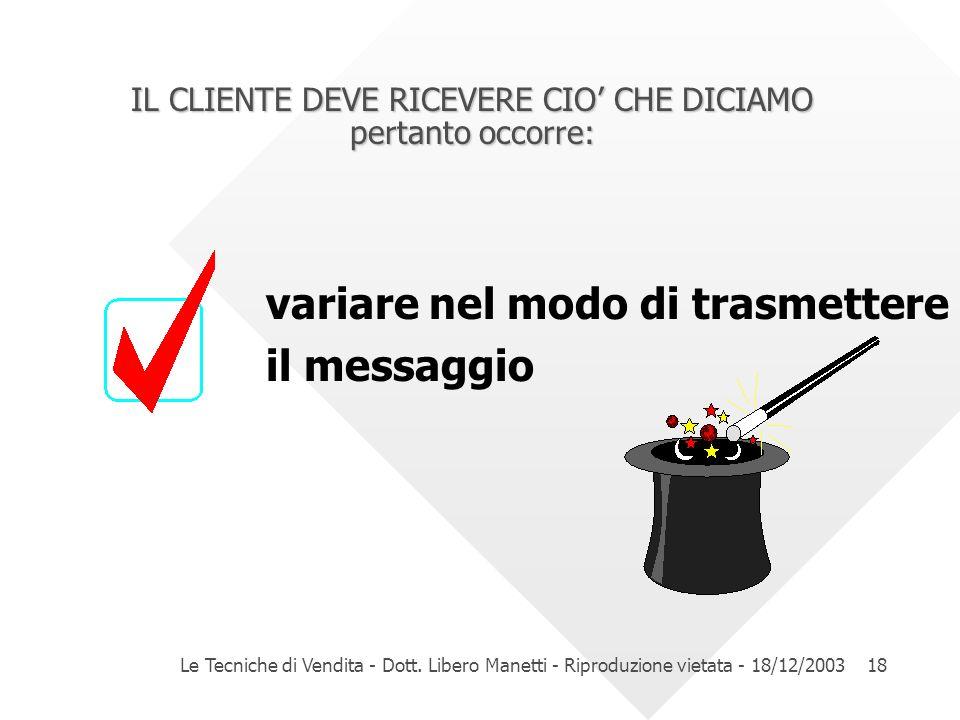 Le Tecniche di Vendita - Dott. Libero Manetti - Riproduzione vietata - 18/12/200318 IL CLIENTE DEVE RICEVERE CIO CHE DICIAMO pertanto occorre: variare