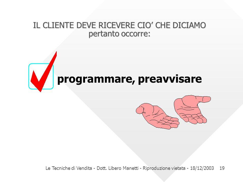 Le Tecniche di Vendita - Dott. Libero Manetti - Riproduzione vietata - 18/12/200319 IL CLIENTE DEVE RICEVERE CIO CHE DICIAMO pertanto occorre: program