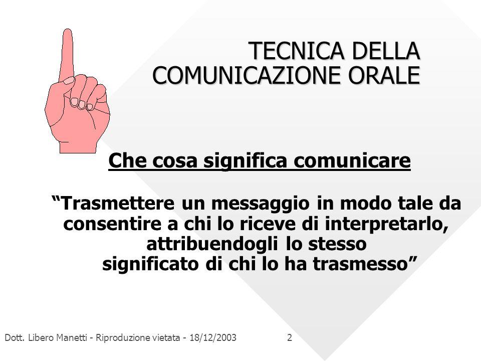 Dott. Libero Manetti - Riproduzione vietata - 18/12/20032 TECNICA DELLA COMUNICAZIONE ORALE Che cosa significa comunicare Trasmettere un messaggio in