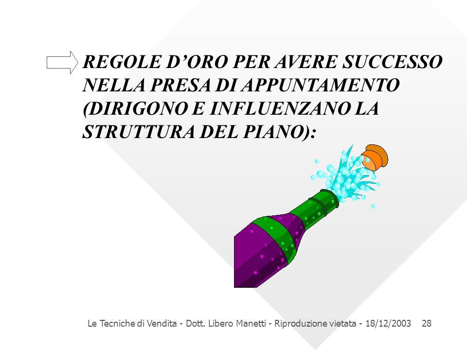 Le Tecniche di Vendita - Dott. Libero Manetti - Riproduzione vietata - 18/12/200328 REGOLE DORO PER AVERE SUCCESSO NELLA PRESA DI APPUNTAMENTO (DIRIGO