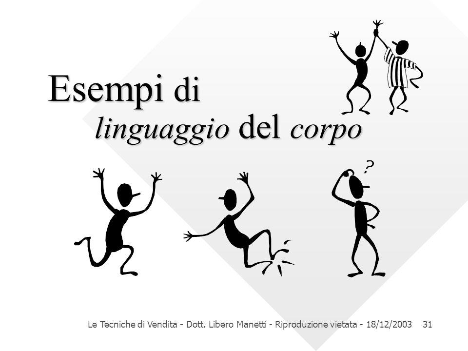 Le Tecniche di Vendita - Dott. Libero Manetti - Riproduzione vietata - 18/12/200331 Esempi di linguaggio del corpo