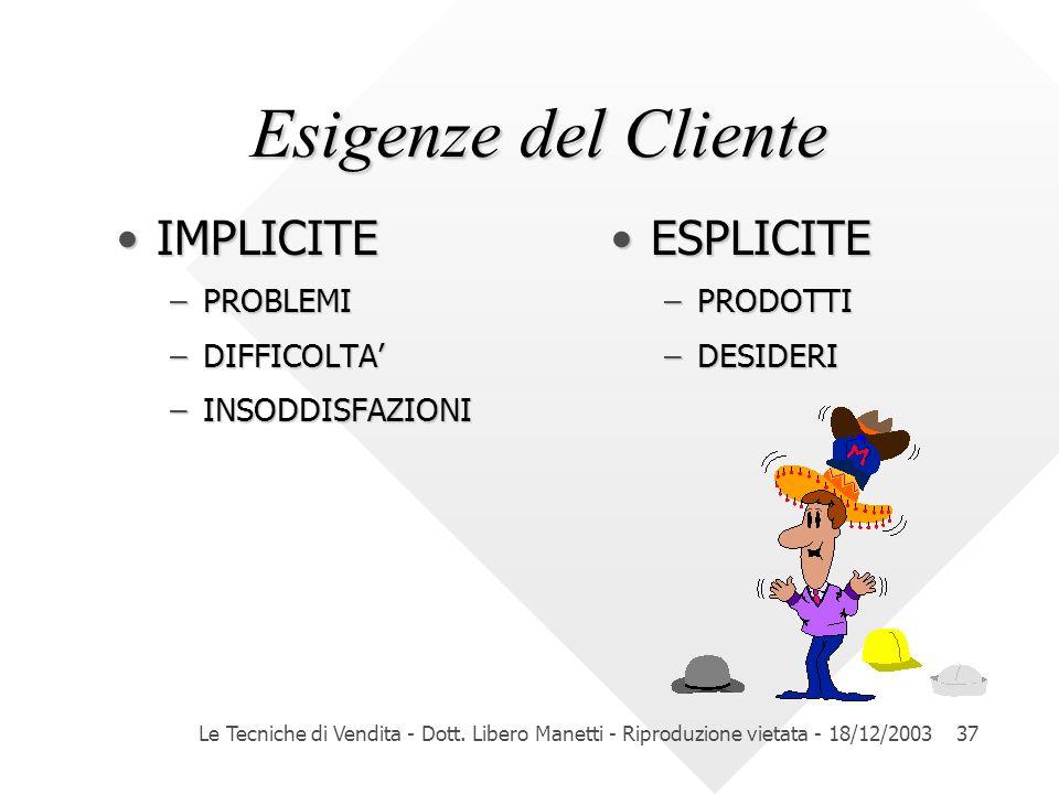 Le Tecniche di Vendita - Dott. Libero Manetti - Riproduzione vietata - 18/12/200337 Esigenze del Cliente Esigenze del Cliente IMPLICITEIMPLICITE –PROB