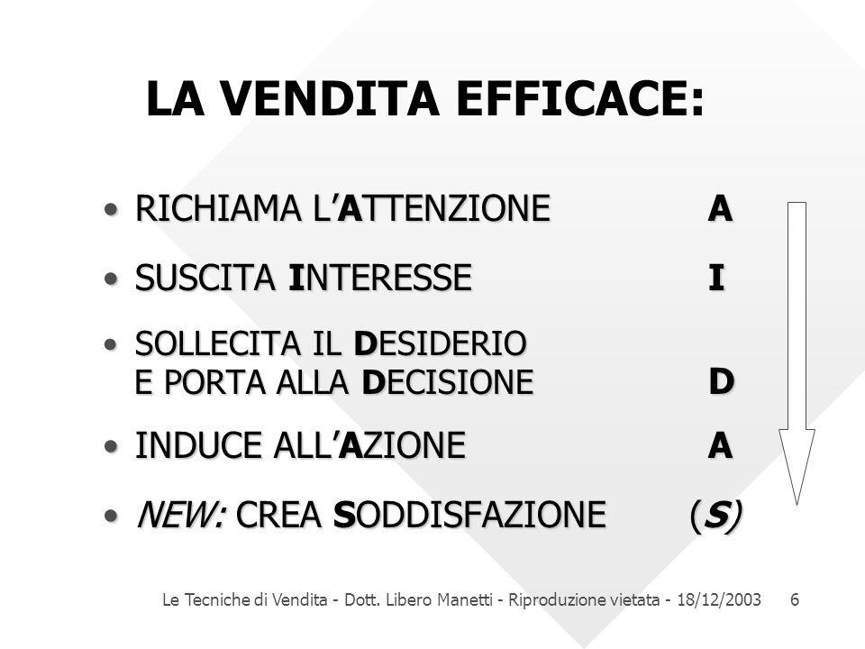 Le Tecniche di Vendita - Dott. Libero Manetti - Riproduzione vietata - 18/12/20036 LA VENDITA EFFICACE: RICHIAMA LATTENZIONEARICHIAMA LATTENZIONEA SUS