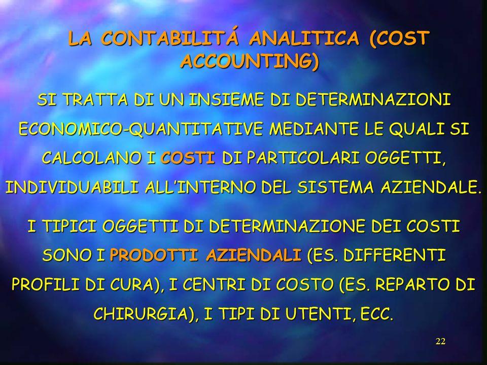 22 LA CONTABILITÁ ANALITICA (COST ACCOUNTING) SI TRATTA DI UN INSIEME DI DETERMINAZIONI ECONOMICO-QUANTITATIVE MEDIANTE LE QUALI SI CALCOLANO I COSTI