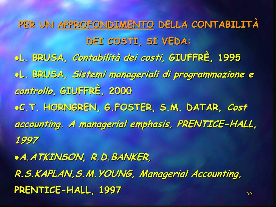 75 PER UN APPROFONDIMENTO DELLA CONTABILITÀ DEI COSTI, SI VEDA: L. BRUSA, Contabilità dei costi, GIUFFRÈ, 1995 L. BRUSA, Contabilità dei costi, GIUFFR