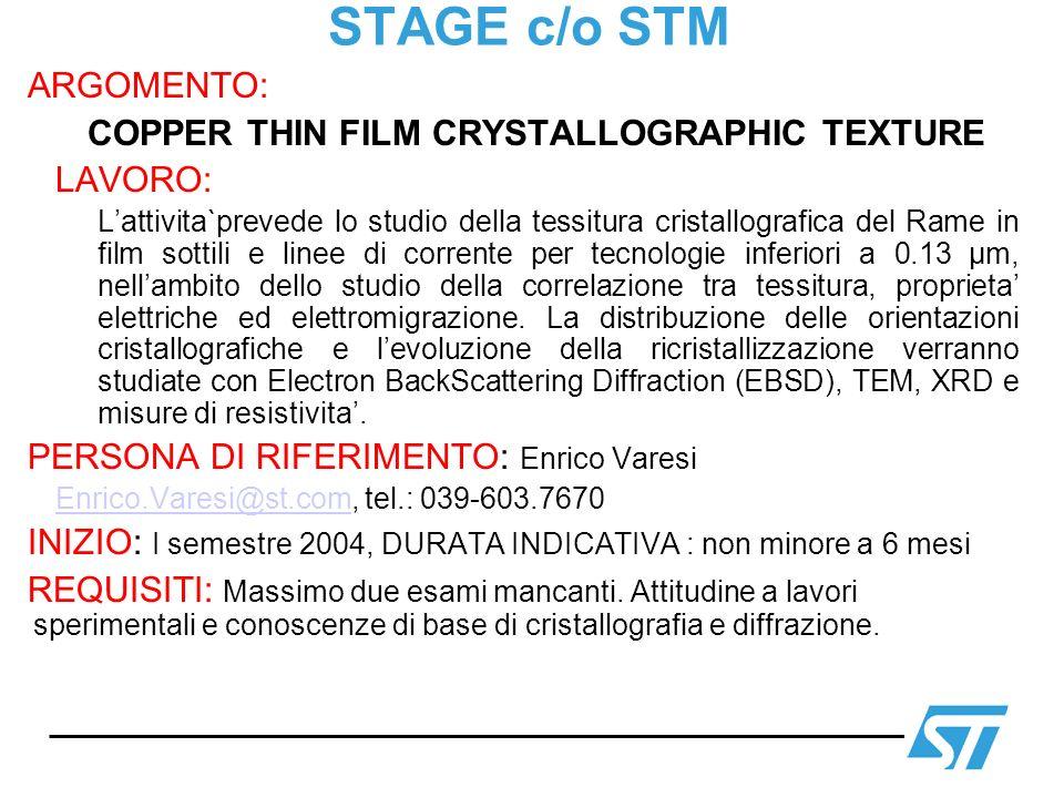 STAGE c/o STM ARGOMENTO: COPPER THIN FILM CRYSTALLOGRAPHIC TEXTURE LAVORO: Lattivita`prevede lo studio della tessitura cristallografica del Rame in fi