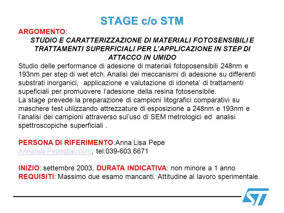 STAGE c/o STM ARGOMENTO: STUDIO E CARATTERIZZAZIONE DI MATERIALI FOTOSENSIBILI E TRATTAMENTI SUPERFICIALI PER LAPPLICAZIONE IN STEP DI ATTACCO IN UMID