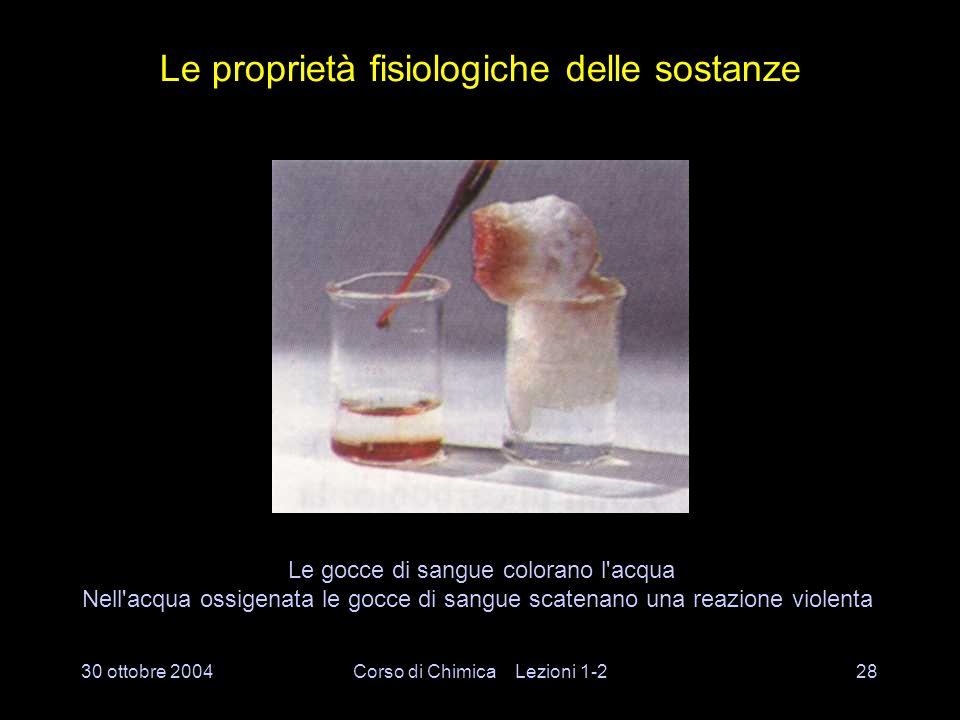 30 ottobre 2004Corso di Chimica Lezioni 1-227 Le proprietà chimiche delle sostanze L ossigeno che si sviluppa accende una brace