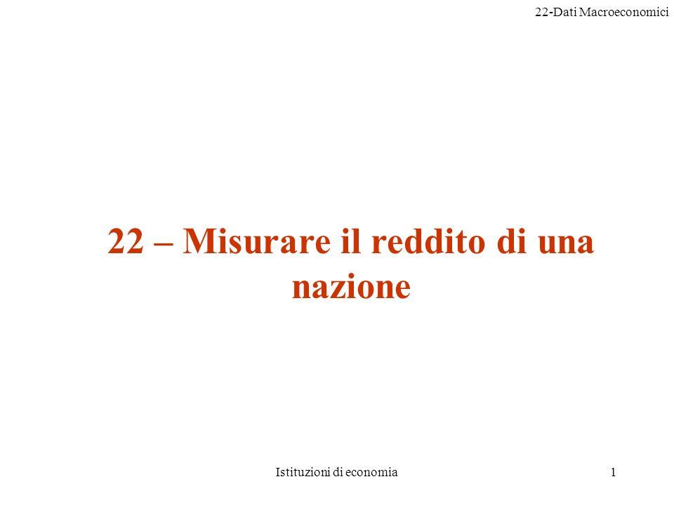 22-Dati Macroeconomici Istituzioni di economia32 2) Qual è lanno base.