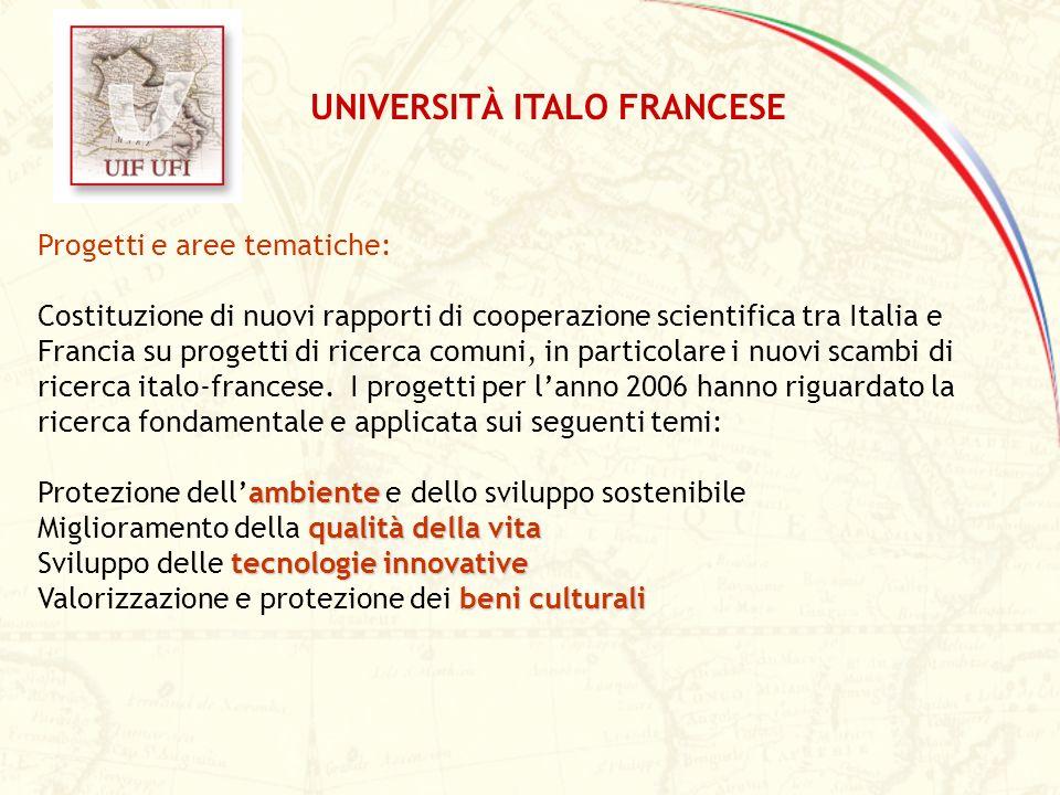 Progetti e aree tematiche: Costituzione di nuovi rapporti di cooperazione scientifica tra Italia e Francia su progetti di ricerca comuni, in particola