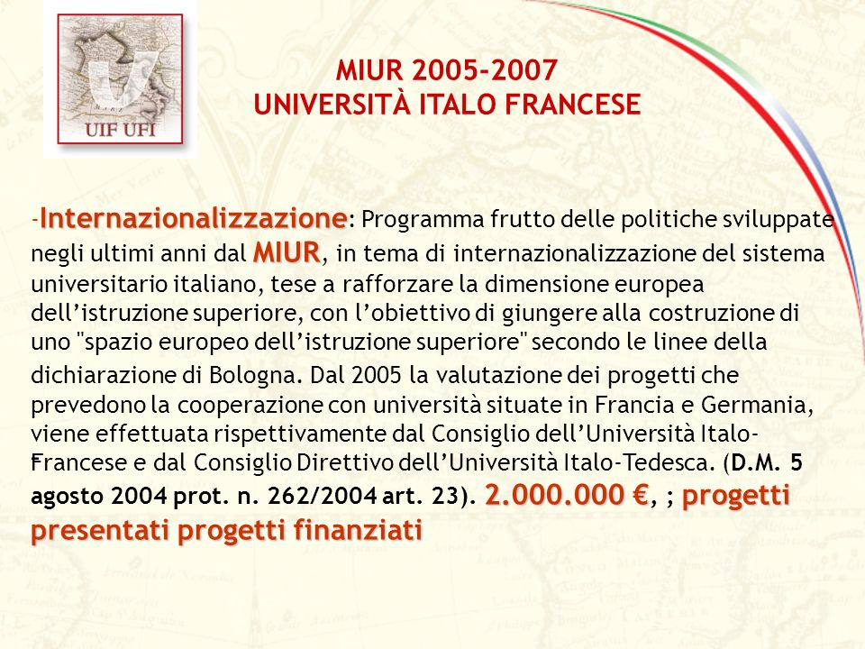Internazionalizzazione MIUR 2.000.000 progetti presentati progetti finanziati - Internazionalizzazione : Programma frutto delle politiche sviluppate n