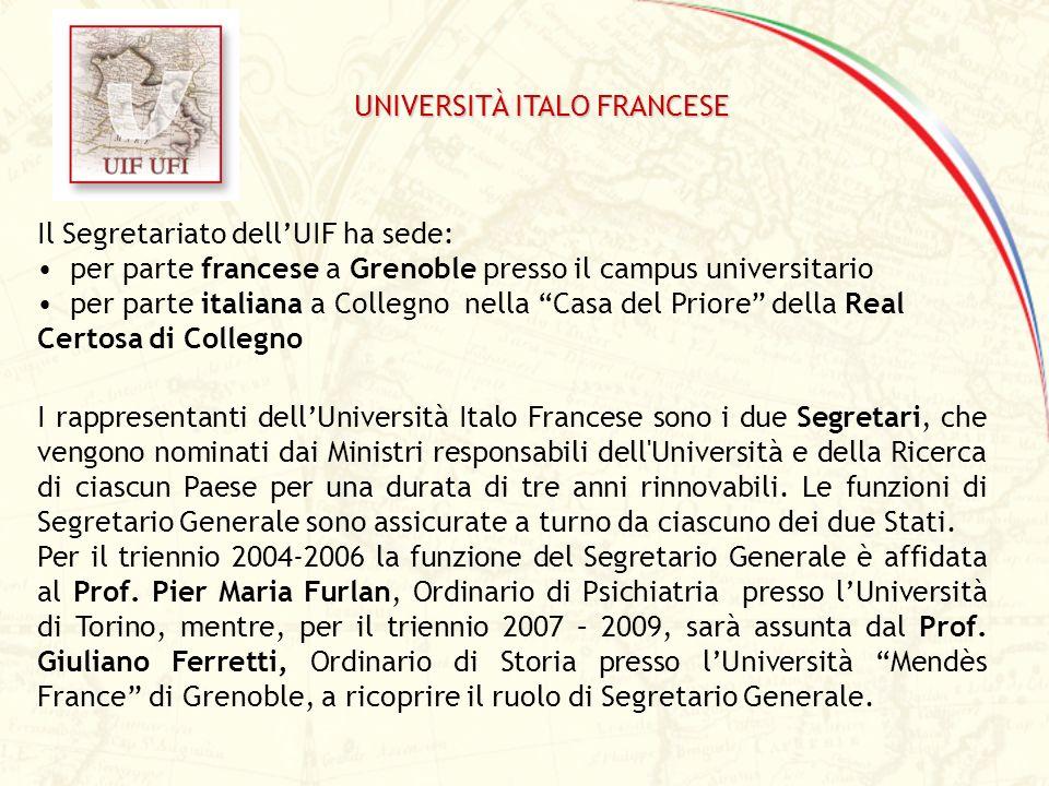 Il Segretariato dellUIF ha sede: per parte francese a Grenoble presso il campus universitario per parte italiana a Collegno nella Casa del Priore dell