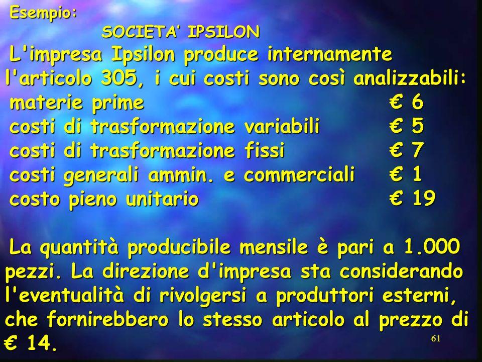 61 Esempio: SOCIETA IPSILON L'impresa Ipsilon produce internamente l'articolo 305, i cui costi sono così analizzabili: materie prime 6 costi di trasfo