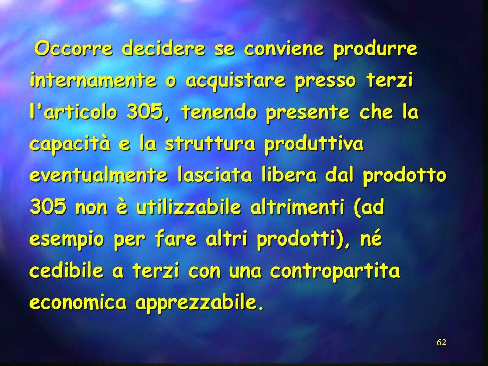 62 Occorre decidere se conviene produrre internamente o acquistare presso terzi l'articolo 305, tenendo presente che la capacità e la struttura produt
