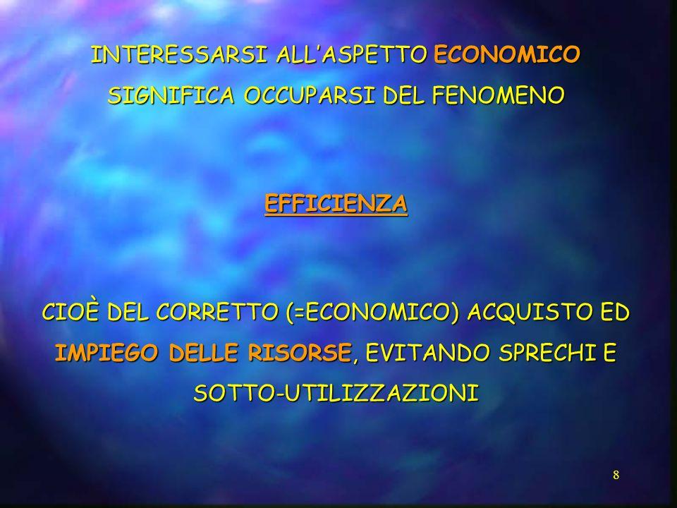 8 INTERESSARSI ALLASPETTO ECONOMICO SIGNIFICA OCCUPARSI DEL FENOMENO EFFICIENZA CIOÈ DEL CORRETTO (=ECONOMICO) ACQUISTO ED IMPIEGO DELLE RISORSE, EVIT