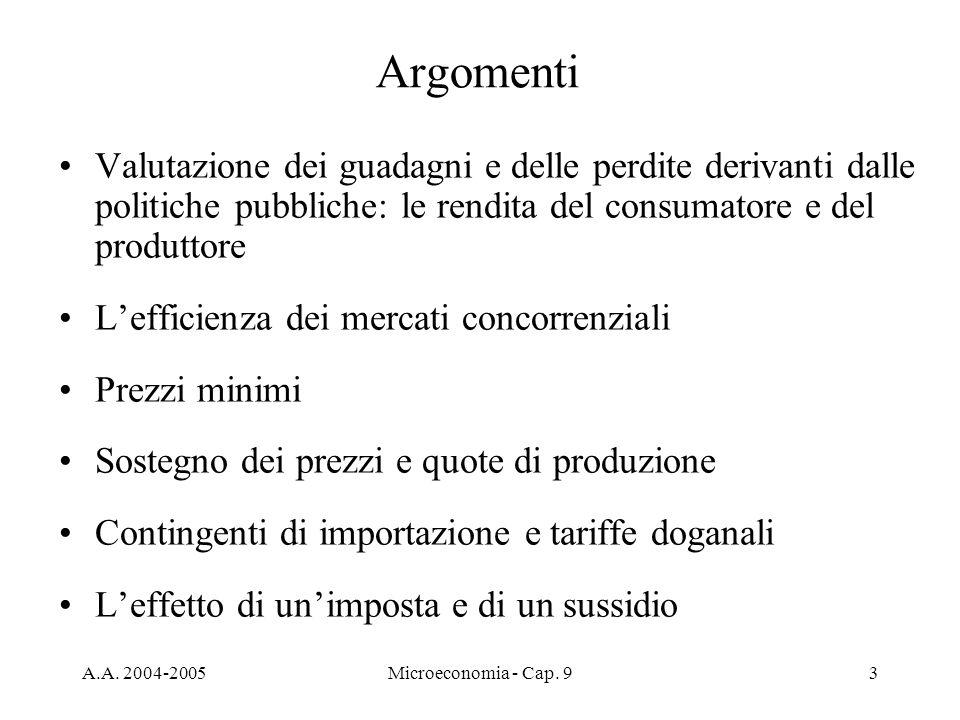 A.A. 2004-2005Microeconomia - Cap. 93 Argomenti Valutazione dei guadagni e delle perdite derivanti dalle politiche pubbliche: le rendita del consumato