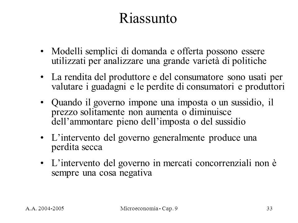 A.A. 2004-2005Microeconomia - Cap. 933 Riassunto Modelli semplici di domanda e offerta possono essere utilizzati per analizzare una grande varietà di