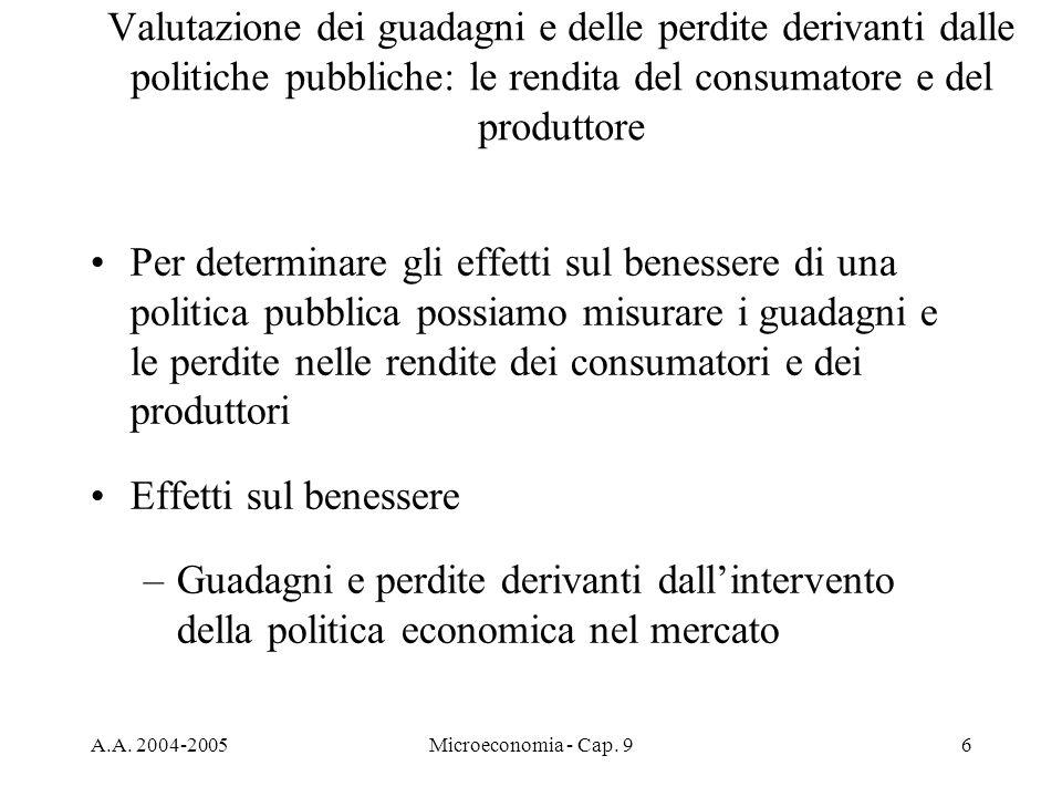 A.A. 2004-2005Microeconomia - Cap. 96 Per determinare gli effetti sul benessere di una politica pubblica possiamo misurare i guadagni e le perdite nel