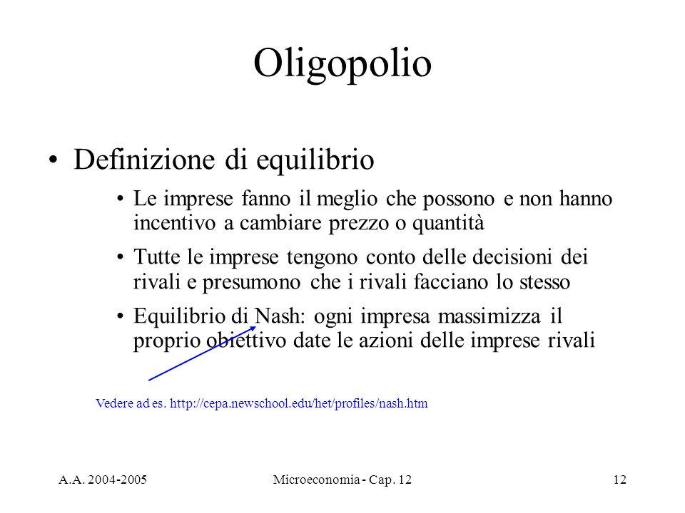 A.A. 2004-2005Microeconomia - Cap. 1212 Oligopolio Definizione di equilibrio Le imprese fanno il meglio che possono e non hanno incentivo a cambiare p